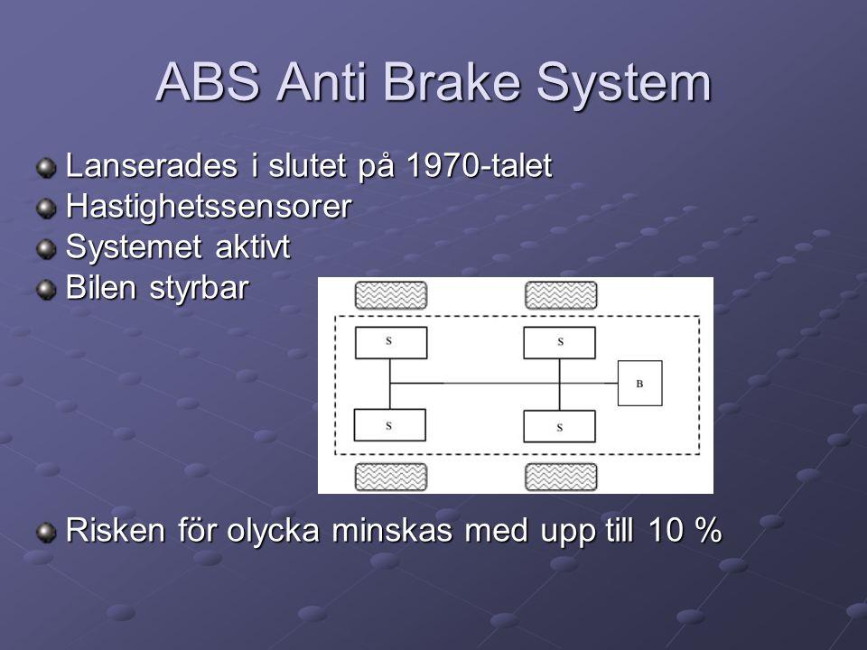 ABS Anti Brake System Lanserades i slutet på 1970-talet Hastighetssensorer Systemet aktivt Bilen styrbar Risken för olycka minskas med upp till 10 %