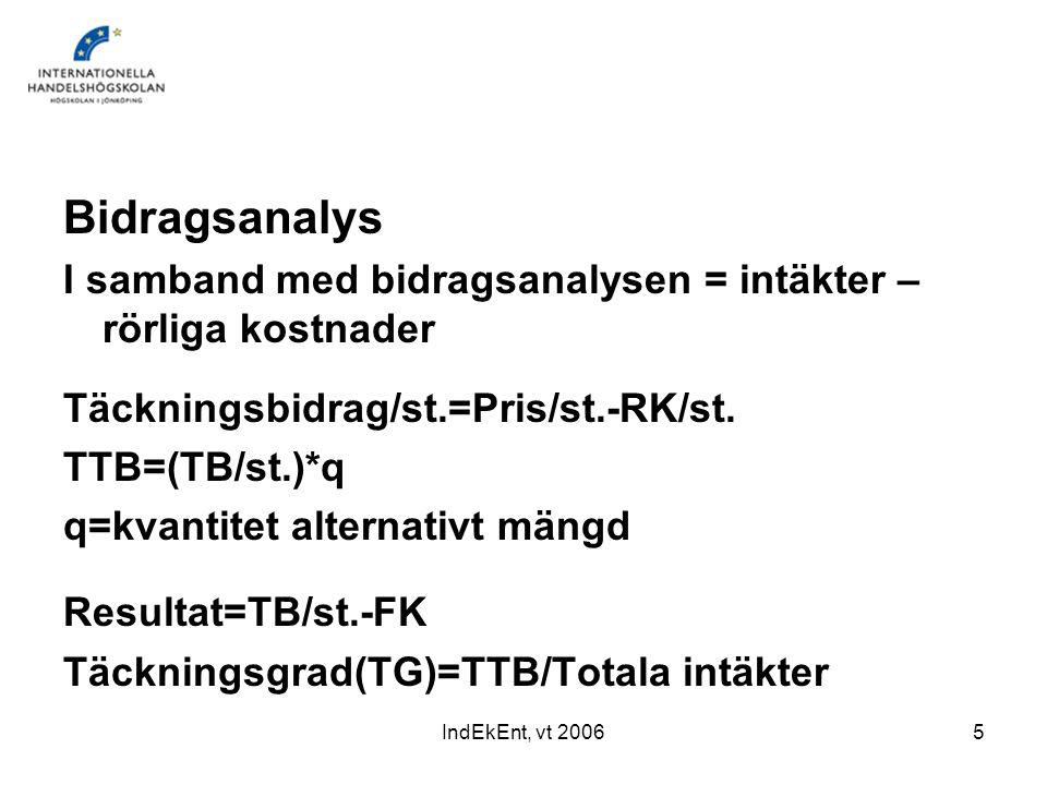 IndEkEnt, vt 20065 Bidragsanalys I samband med bidragsanalysen = intäkter – rörliga kostnader Täckningsbidrag/st.=Pris/st.-RK/st. TTB=(TB/st.)*q q=kva