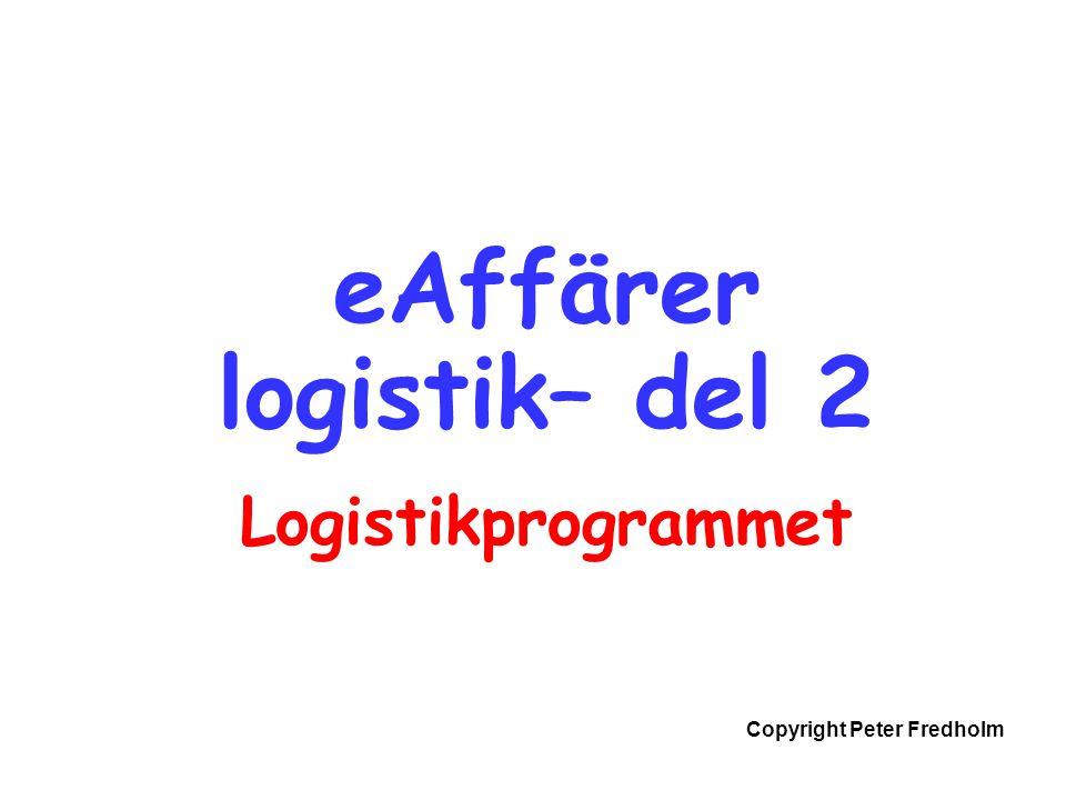 Copyright Peter Fredholm eAffärer logistik– del 2 Logistikprogrammet