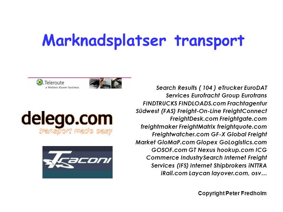 Copyright Peter Fredholm Marknadsplatser transport Search Results ( 104 ) eTrucker EuroDAT Services Eurofracht Group Eurotrans FINDTRUCKS FINDLOADS.com Frachtagentur Südwest (FAS) Freight-On-Line FreightConnect FreightDesk.com Freightgate.com freightmaker FreightMatrix freightquote.com Freightwatcher.com GF-X Global Freight Market GloMaP.com Glopex GoLogistics.com GOSOF.com GT Nexus hookup.com ICG Commerce IndustrySearch Internet Freight Services (IFS) Internet Shipbrokers iNTTRA iRail.com Laycan layover.com, osv…