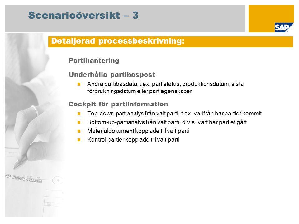 Partihantering Underhålla partibaspost Ändra partibasdata, t.ex. partistatus, produktionsdatum, sista förbrukningsdatum eller partiegenskaper Cockpit