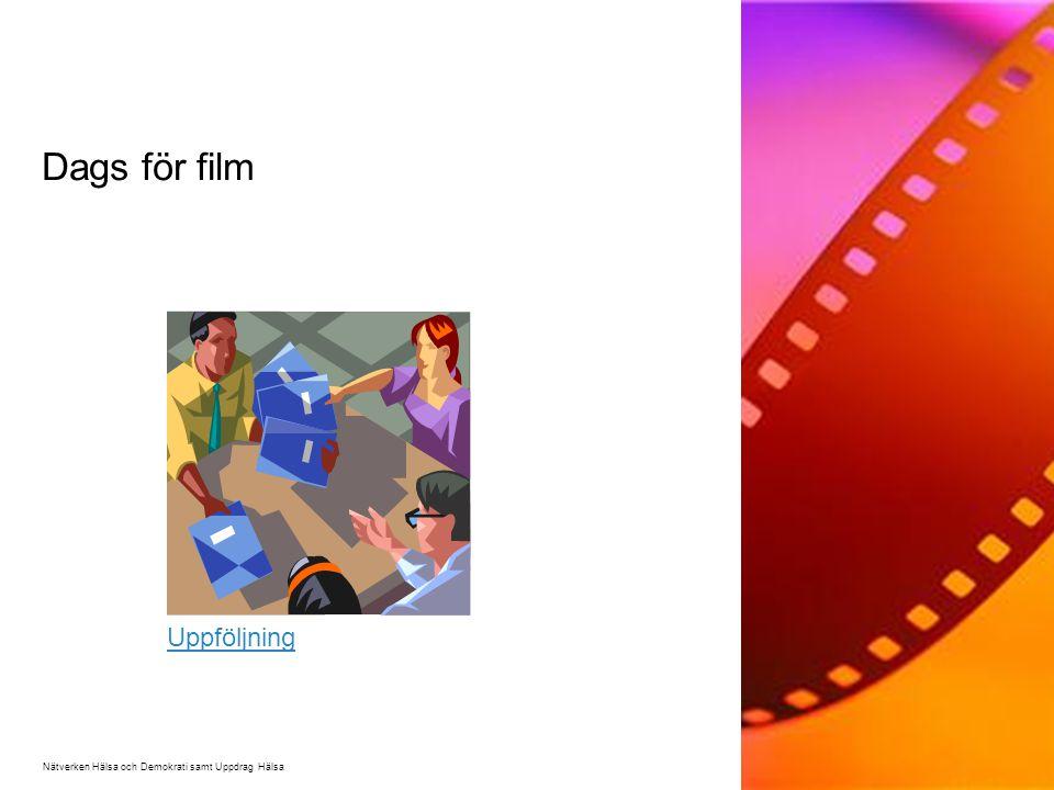 Dags för film Nätverken Hälsa och Demokrati samt Uppdrag Hälsa Uppföljning