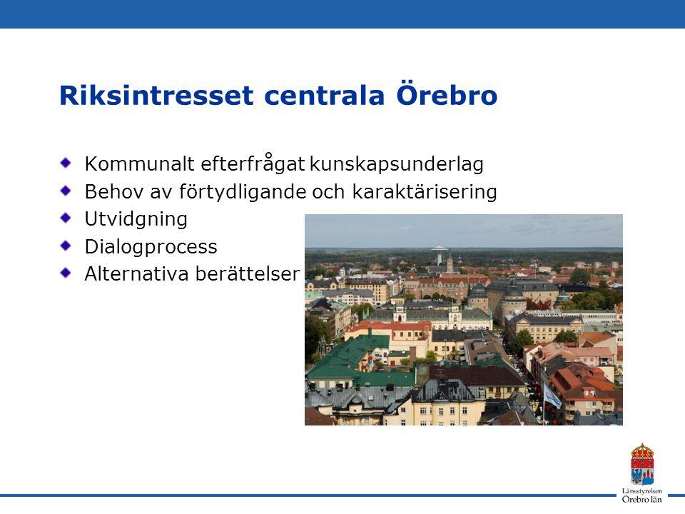 Riksintresset centrala Örebro Kommunalt efterfrågat kunskapsunderlag Behov av förtydligande och karaktärisering Utvidgning Dialogprocess Alternativa berättelser
