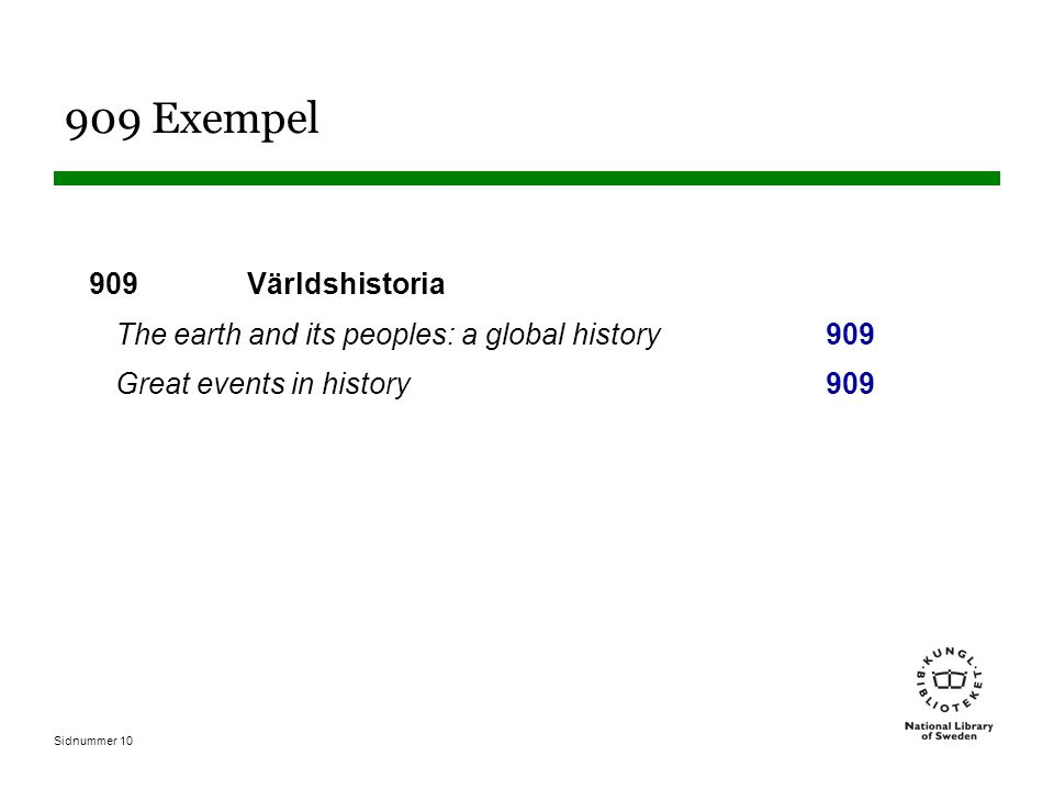 Sidnummer 10 909 Exempel 909 Världshistoria The earth and its peoples: a global history 909 Great events in history909