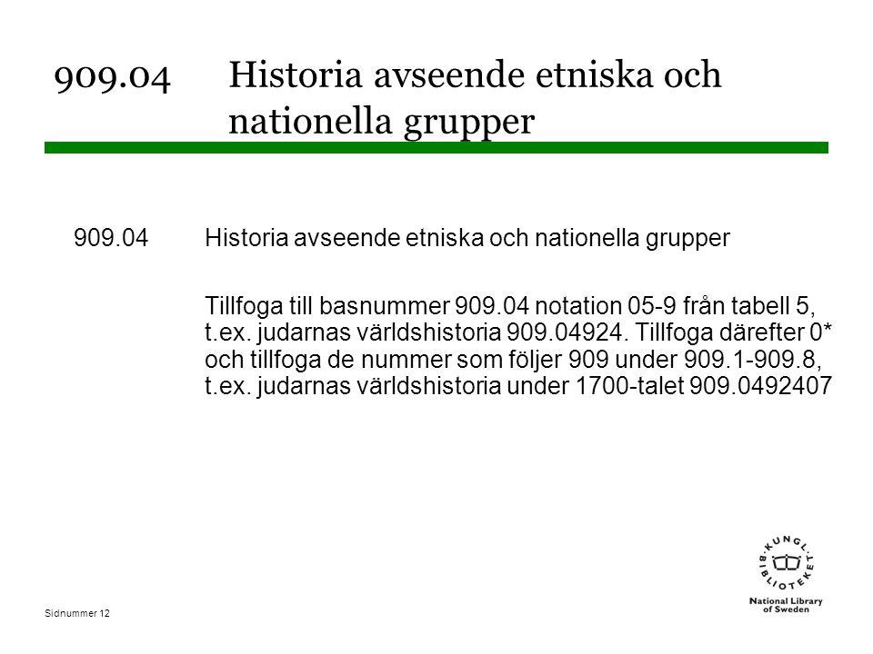 Sidnummer 12 909.04 Historia avseende etniska och nationella grupper Tillfoga till basnummer 909.04 notation 05-9 från tabell 5, t.ex.
