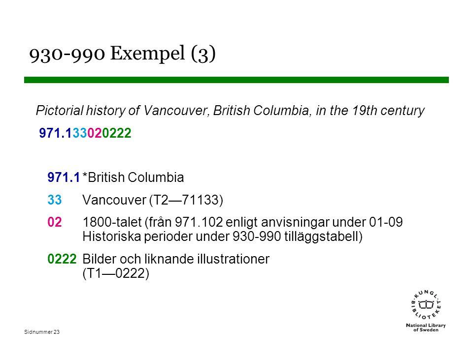 Sidnummer 23 930-990 Exempel (3) Pictorial history of Vancouver, British Columbia, in the 19th century 971.133020222 971.1*British Columbia 33Vancouver (T2—71133) 021800-talet (från 971.102 enligt anvisningar under 01-09 Historiska perioder under 930-990 tilläggstabell) 0222Bilder och liknande illustrationer (T1—0222)