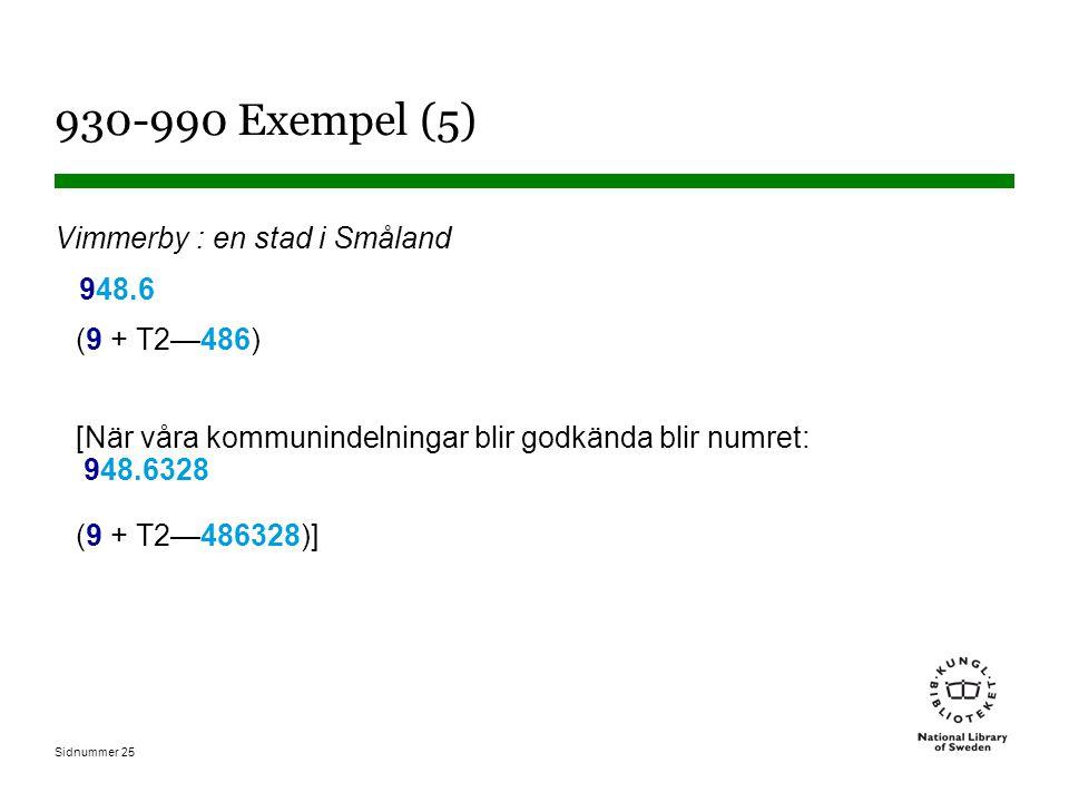 Sidnummer 25 930-990 Exempel (5) Vimmerby : en stad i Småland 948.6 (9 + T2—486) [När våra kommunindelningar blir godkända blir numret: 948.6328 (9 + T2—486328)]