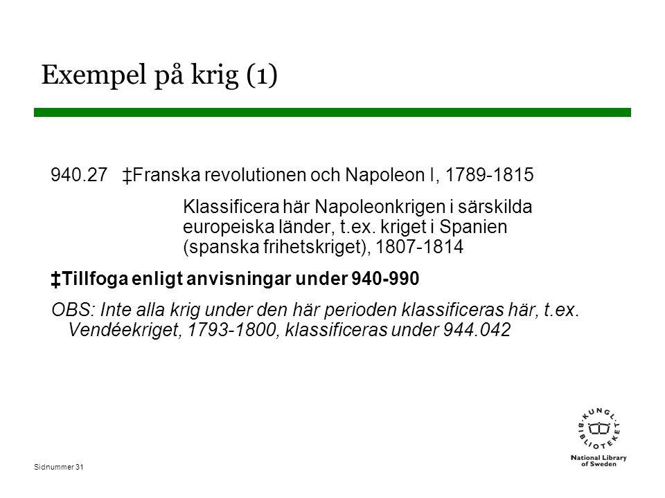 Sidnummer 31 Exempel på krig (1) 940.27 ‡Franska revolutionen och Napoleon I, 1789-1815 Klassificera här Napoleonkrigen i särskilda europeiska länder, t.ex.