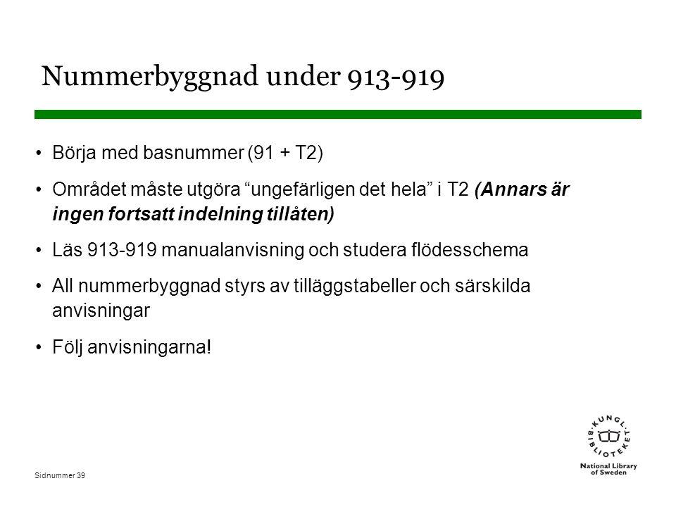 Sidnummer 39 Nummerbyggnad under 913-919 Börja med basnummer (91 + T2) Området måste utgöra ungefärligen det hela i T2 (Annars är ingen fortsatt indelning tillåten) Läs 913-919 manualanvisning och studera flödesschema All nummerbyggnad styrs av tilläggstabeller och särskilda anvisningar Följ anvisningarna!