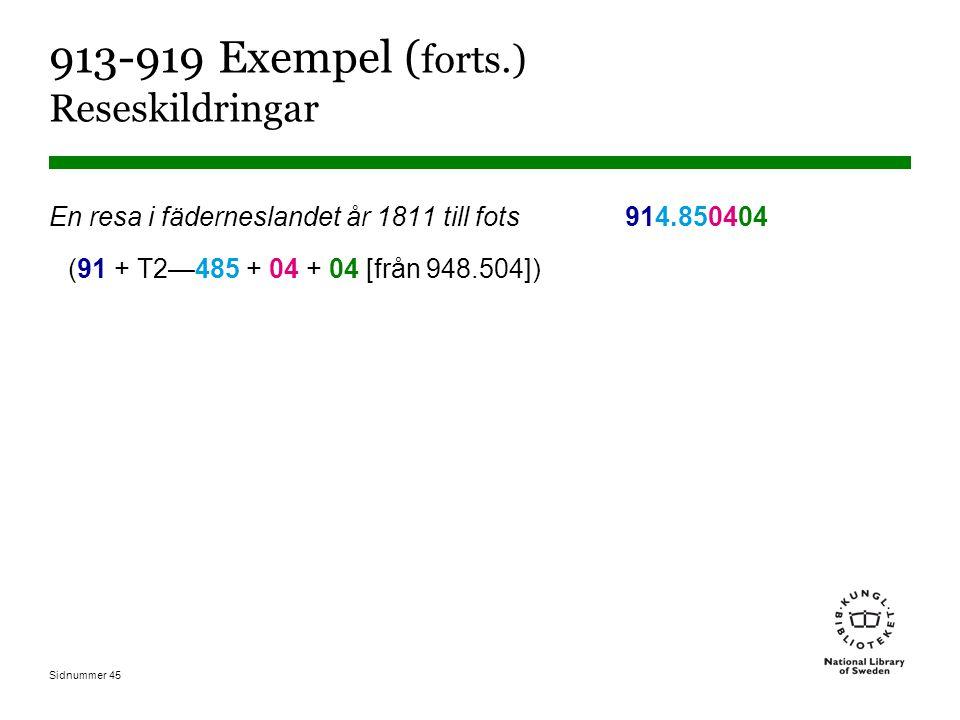 Sidnummer 45 913-919 Exempel ( forts.) Reseskildringar En resa i fäderneslandet år 1811 till fots914.850404 (91 + T2—485 + 04 + 04 [från 948.504])