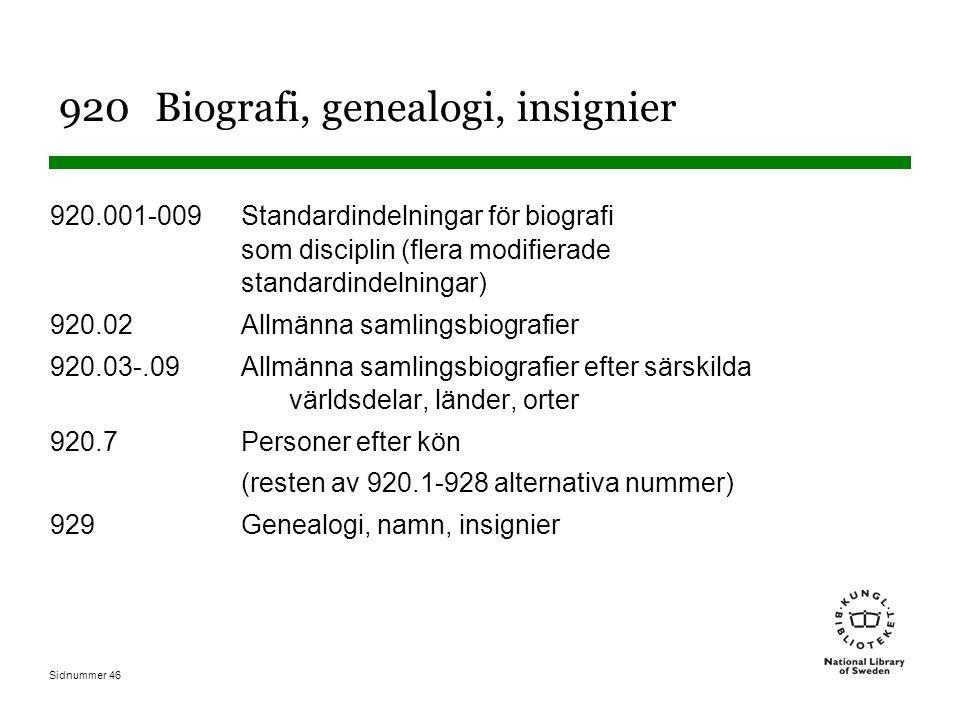 Sidnummer 46 920Biografi, genealogi, insignier 920.001-009Standardindelningar för biografi som disciplin (flera modifierade standardindelningar) 920.0