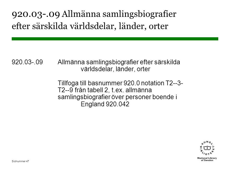 Sidnummer 47 920.03-.09 Allmänna samlingsbiografier efter särskilda världsdelar, länder, orter 920.03-.09 Allmänna samlingsbiografier efter särskilda världsdelar, länder, orter Tillfoga till basnummer 920.0 notation T2--3- T2--9 från tabell 2, t.ex.