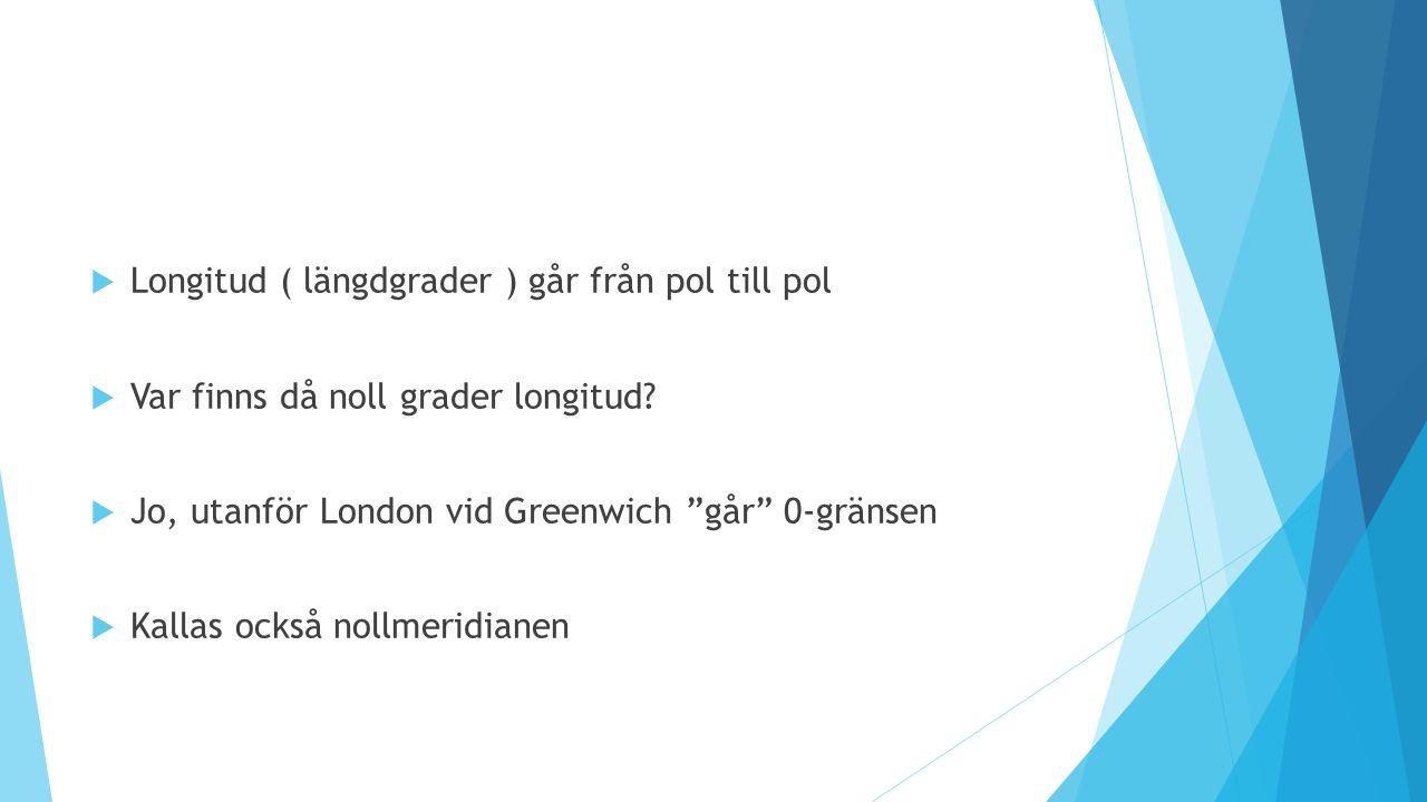 """ Longitud ( längdgrader ) går från pol till pol  Var finns då noll grader longitud?  Jo, utanför London vid Greenwich """"går"""" 0-gränsen  Kallas ocks"""