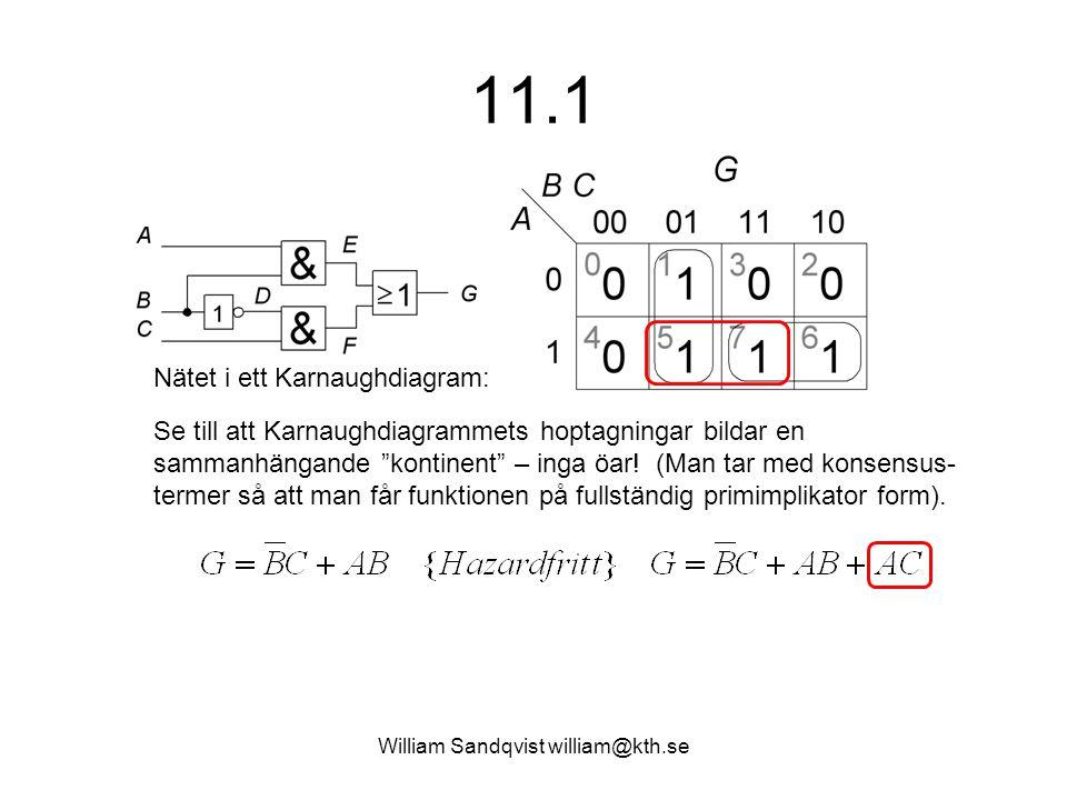 """William Sandqvist william@kth.se 11.1 Se till att Karnaughdiagrammets hoptagningar bildar en sammanhängande """"kontinent"""" – inga öar! (Man tar med konse"""