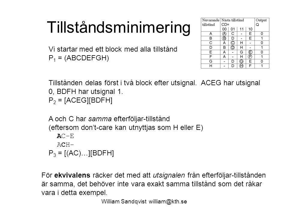 Tillståndsminimering William Sandqvist william@kth.se Vi startar med ett block med alla tillstånd P 1 = (ABCDEFGH) Tillstånden delas först i två block