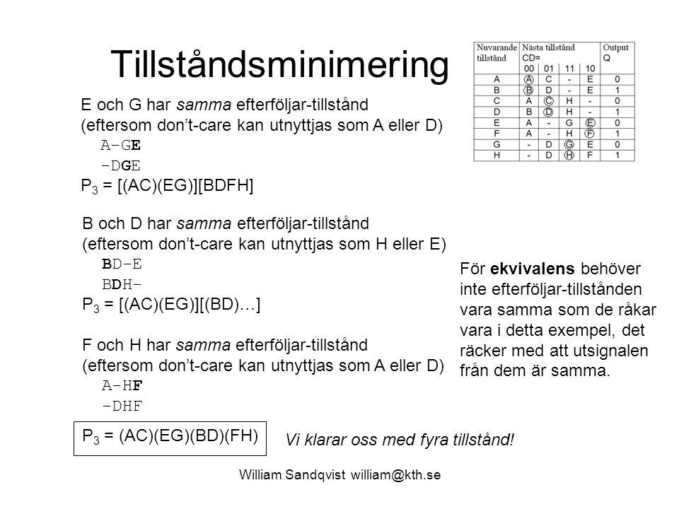 Tillståndsminimering William Sandqvist william@kth.se E och G har samma efterföljar-tillstånd (eftersom don't-care kan utnyttjas som A eller D) A-GE -