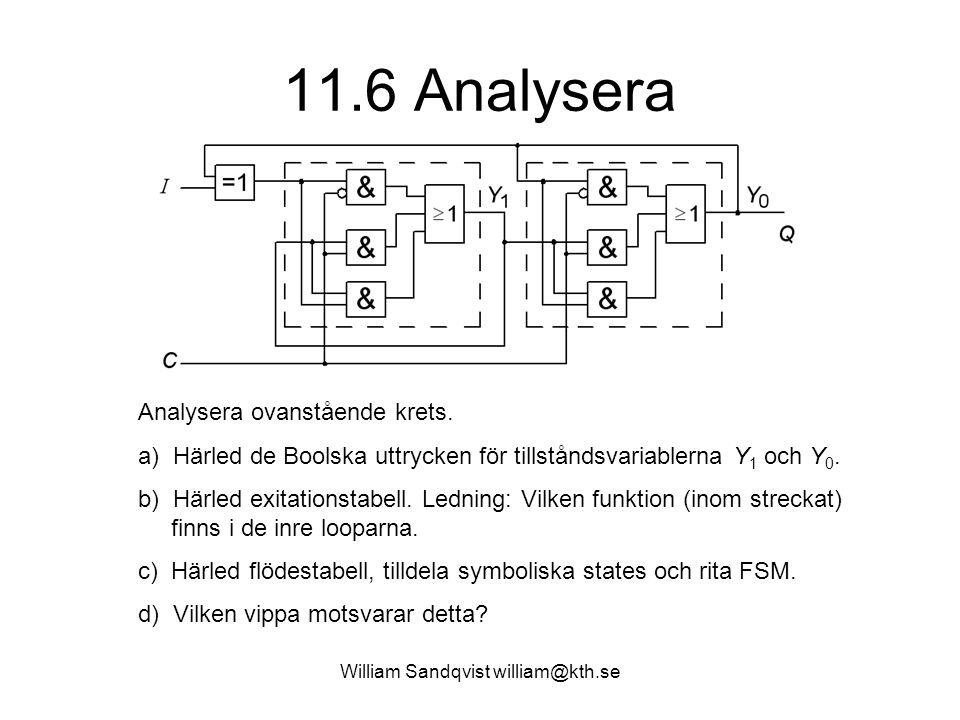 William Sandqvist william@kth.se 11.6 Analysera Analysera ovanstående krets. a) Härled de Boolska uttrycken för tillståndsvariablerna Y 1 och Y 0. b)