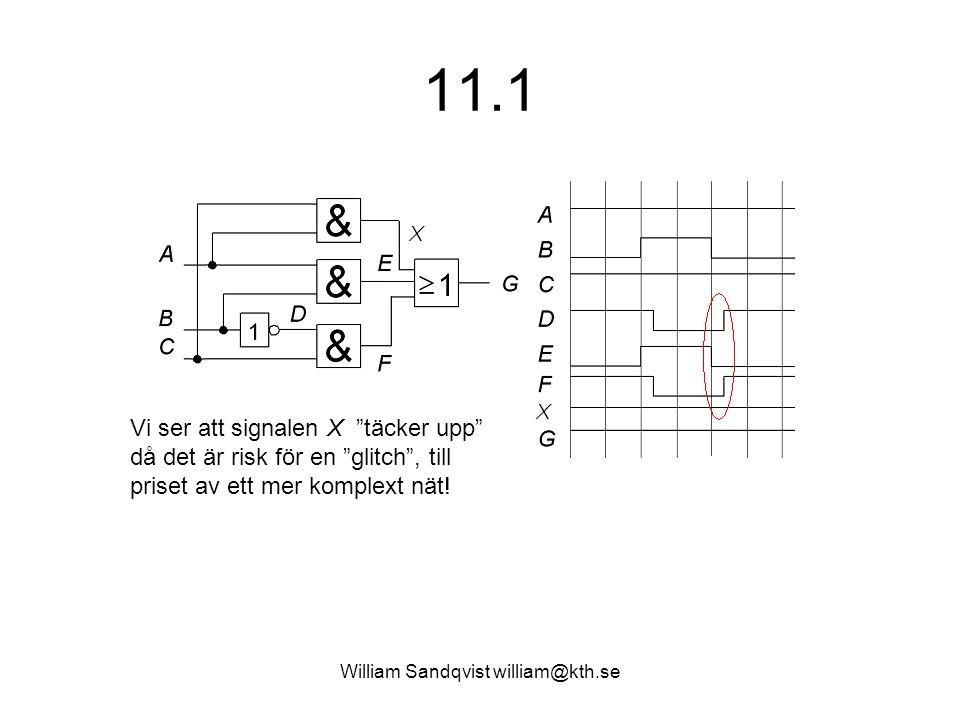 William Sandqvist william@kth.se 11.6 Flödestabell Tillståndsdiagram: De omöjliga tillstånden (genomstrukna) skulle kunna utnyttjas som Don't-care om man vid ett annat tillfälle omkodar nätet.