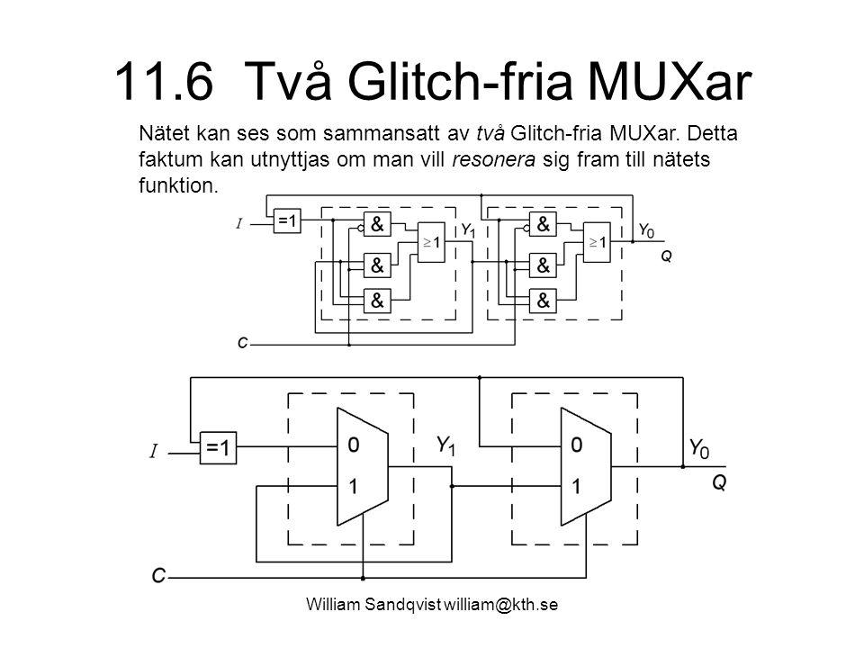 William Sandqvist william@kth.se 11.6 Två Glitch-fria MUXar Nätet kan ses som sammansatt av två Glitch-fria MUXar. Detta faktum kan utnyttjas om man v
