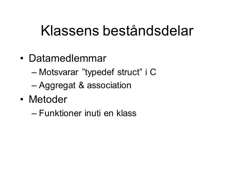 """Klassens beståndsdelar Datamedlemmar –Motsvarar """"typedef struct"""" i C –Aggregat & association Metoder –Funktioner inuti en klass"""