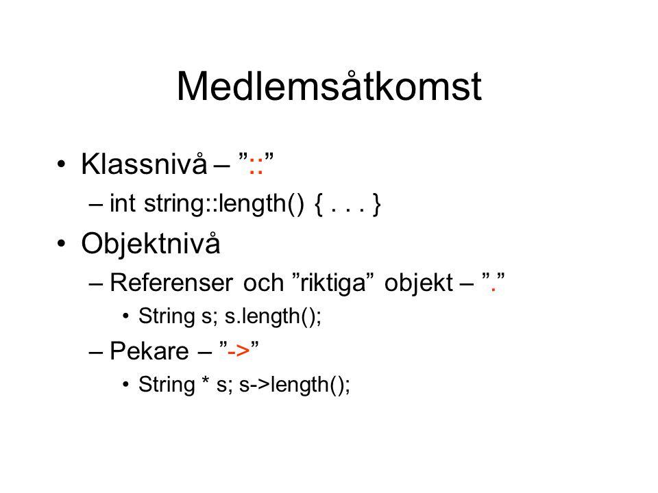 """Medlemsåtkomst Klassnivå – """"::"""" –int string::length() {... } Objektnivå –Referenser och """"riktiga"""" objekt – """"."""" String s; s.length(); –Pekare – """"->"""" St"""