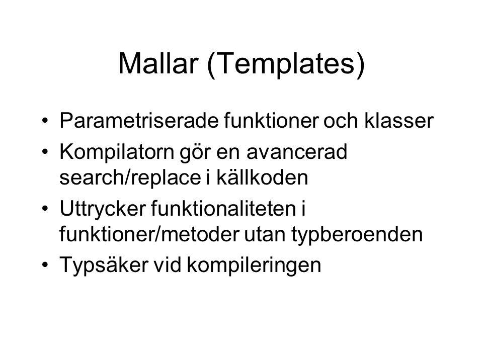 Mallar (Templates) Parametriserade funktioner och klasser Kompilatorn gör en avancerad search/replace i källkoden Uttrycker funktionaliteten i funktioner/metoder utan typberoenden Typsäker vid kompileringen