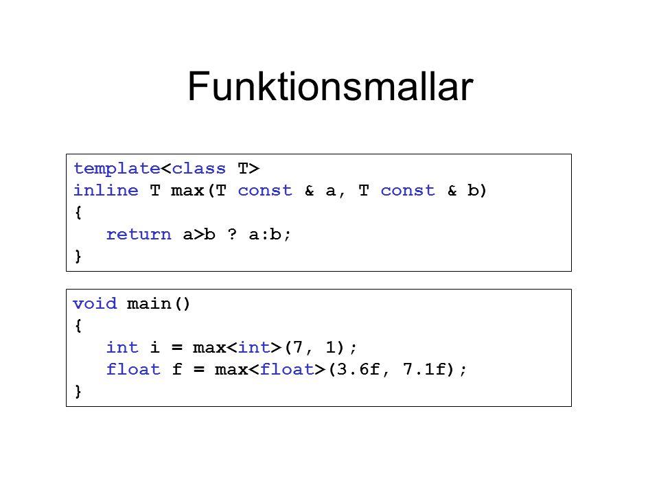 Funktionsmallar template inline T max(T const & a, T const & b) { return a>b ? a:b; } void main() { int i = max (7, 1); float f = max (3.6f, 7.1f); }