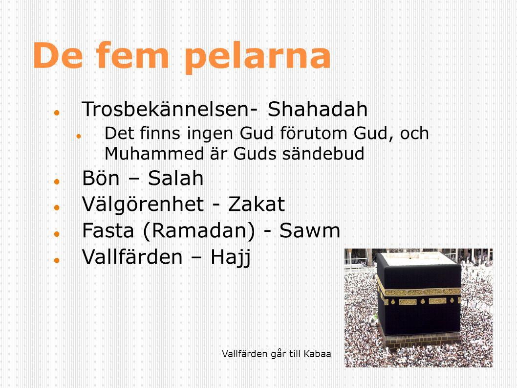De fem pelarna Trosbekännelsen- Shahadah Det finns ingen Gud förutom Gud, och Muhammed är Guds sändebud Bön – Salah Välgörenhet - Zakat Fasta (Ramadan