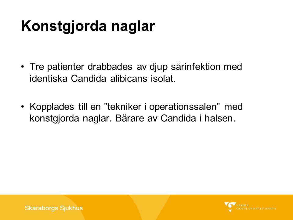 Skaraborgs Sjukhus Konstgjorda naglar En sjuksköterska på en dialysavdelning smittade 5 av 6 dialyspatienter vid öppnande av heparinflaska och beredning /administration av läkemedlet.