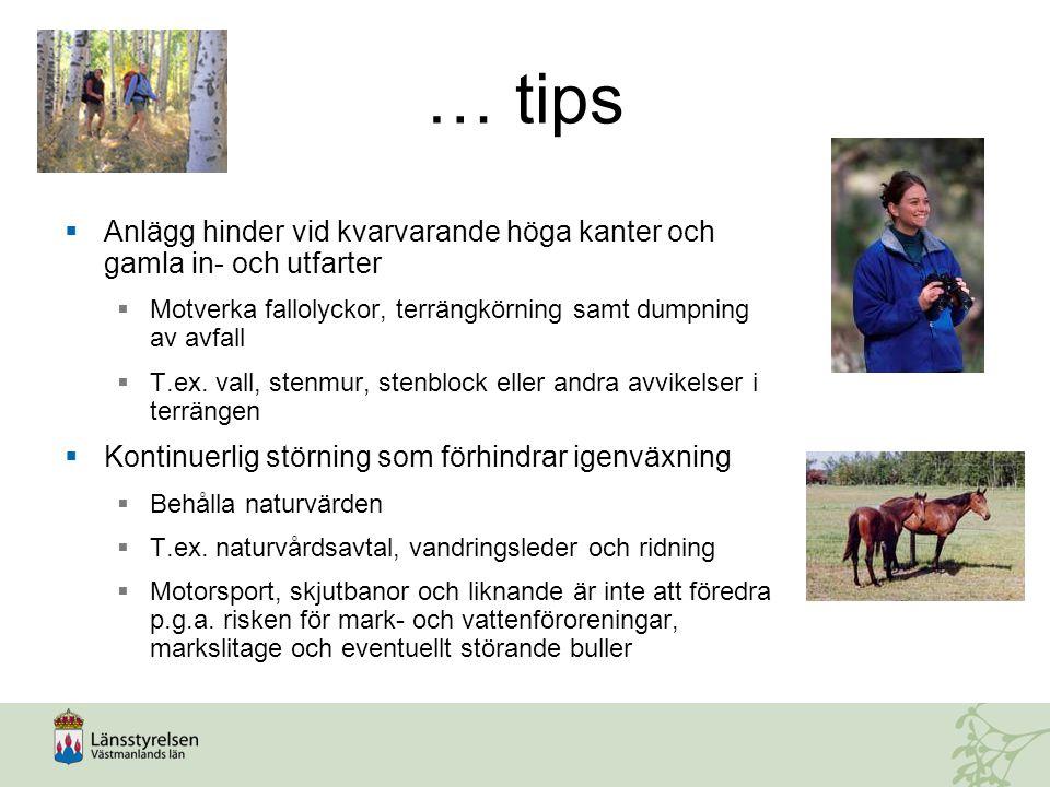 … tips  Anlägg hinder vid kvarvarande höga kanter och gamla in- och utfarter  Motverka fallolyckor, terrängkörning samt dumpning av avfall  T.ex.