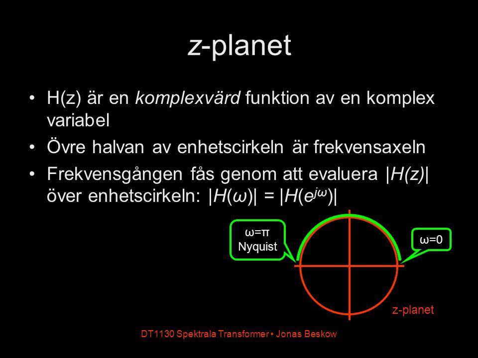 DT1130 Spektrala Transformer Jonas Beskow z-planet H(z) är en komplexvärd funktion av en komplex variabel Övre halvan av enhetscirkeln är frekvensaxel