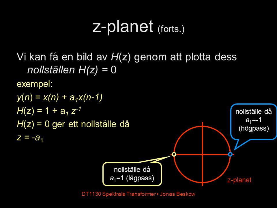 DT1130 Spektrala Transformer Jonas Beskow z-planet (forts.) Vi kan få en bild av H(z) genom att plotta dess nollställen H(z) = 0 exempel: y(n) = x(n)