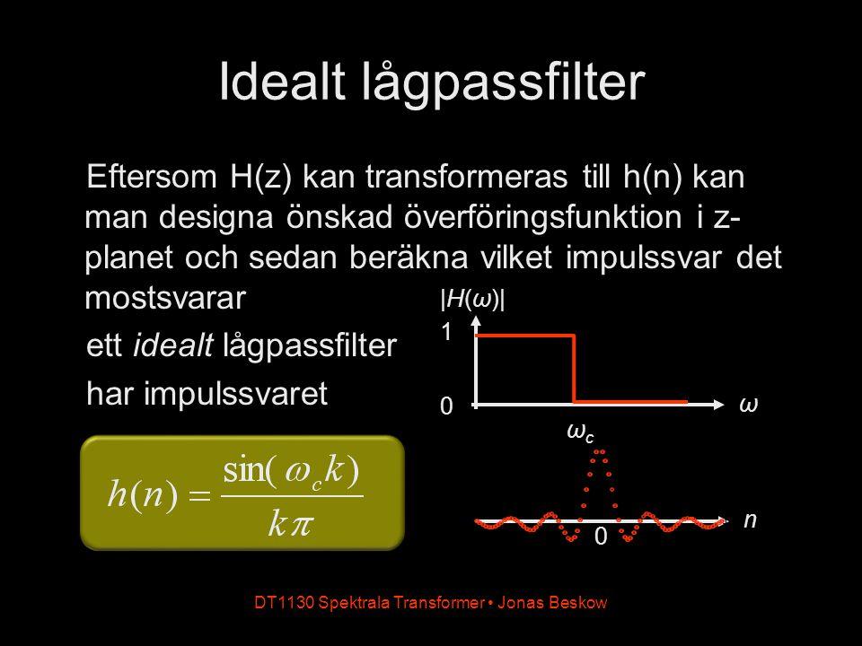 DT1130 Spektrala Transformer Jonas Beskow n Idealt lågpassfilter Eftersom H(z) kan transformeras till h(n) kan man designa önskad överföringsfunktion