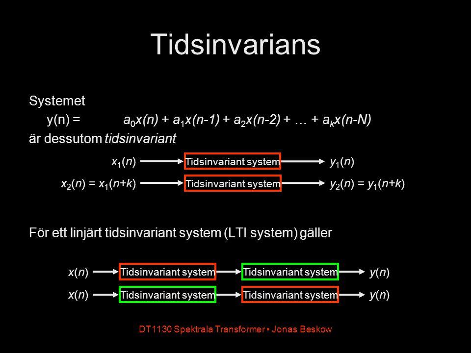 DT1130 Spektrala Transformer Jonas Beskow Tidsinvarians Systemet y(n) = a 0 x(n) + a 1 x(n-1) + a 2 x(n-2) + … + a k x(n-N) är dessutom tidsinvariant
