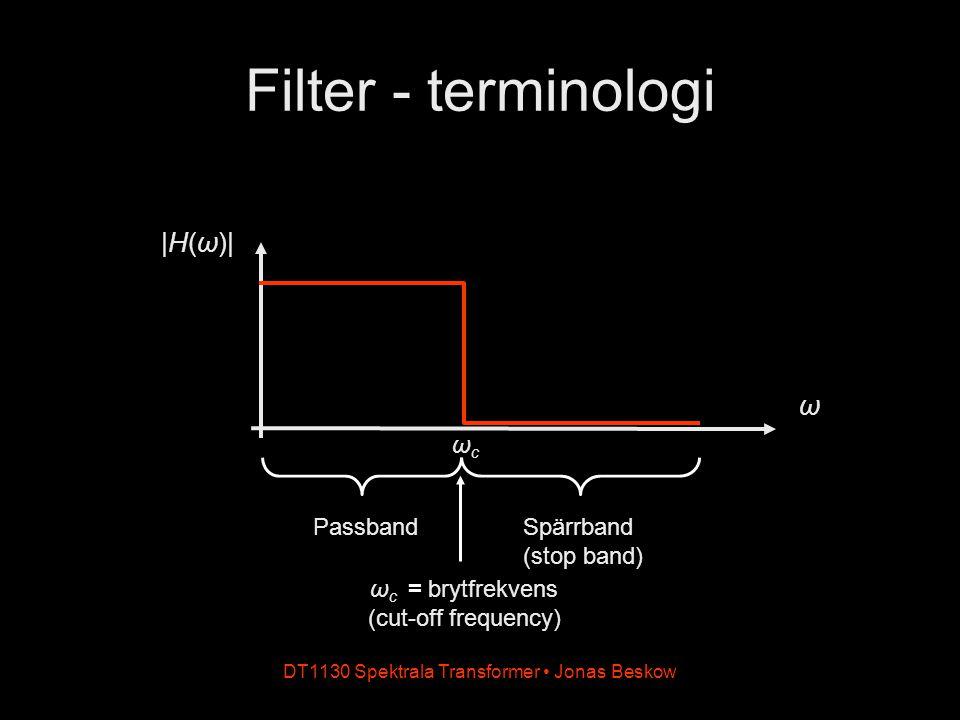 DT1130 Spektrala Transformer Jonas Beskow Filter - terminologi ω |H(ω)| PassbandSpärrband (stop band) ωcωc ω c = brytfrekvens (cut-off frequency)