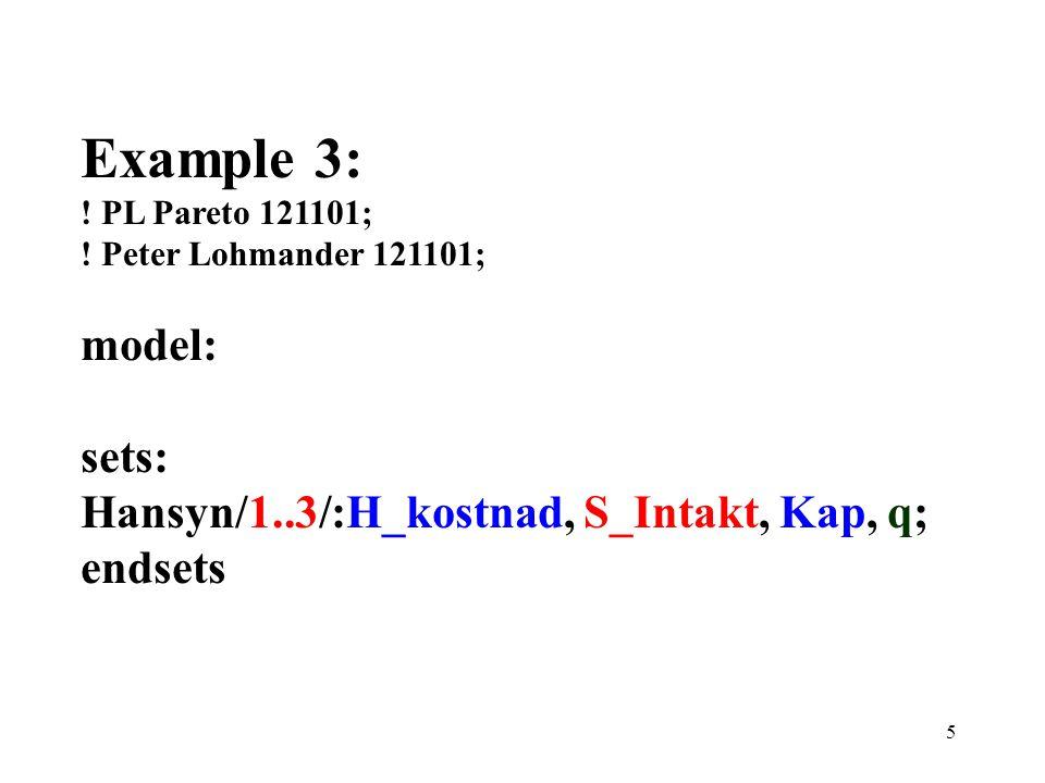 6 min = Tot_H_kostnad; Tot_H_Kostnad = @sum(Hansyn(j): H_kostnad(j)*q(j)); Tot_S_Intakt = @sum(Hansyn(j): S_Intakt(j)*q(j)); [S_Krav] Tot_S_Intakt >= S_Tot;