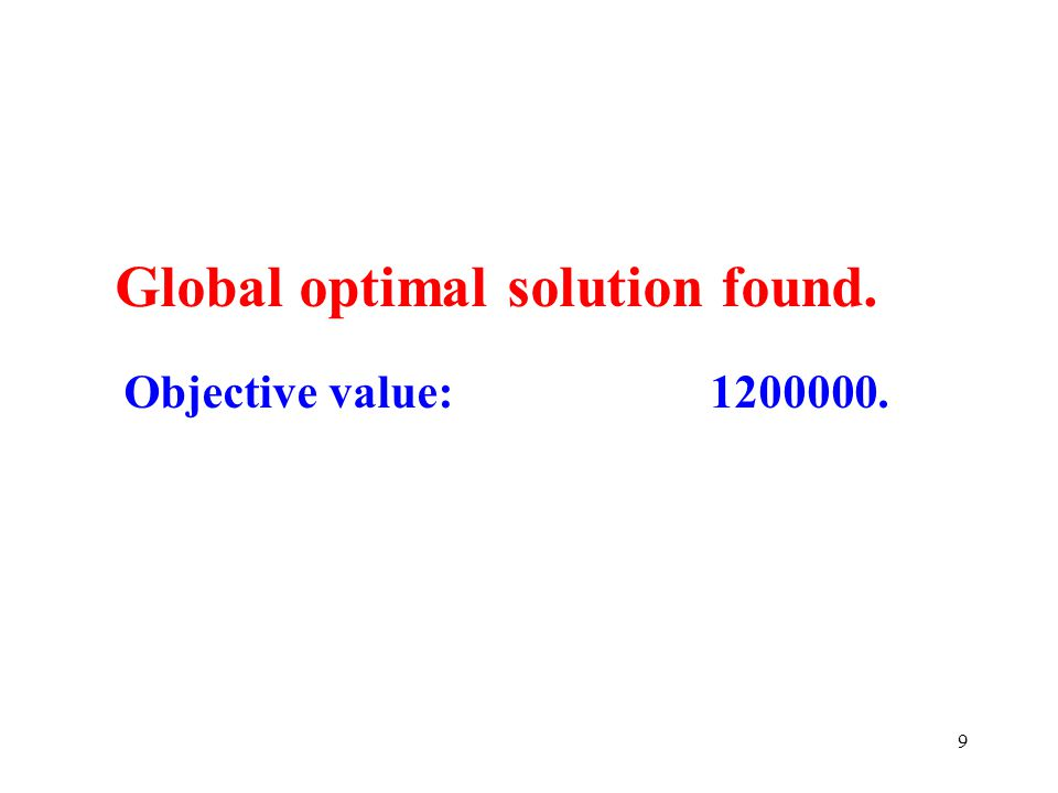 9 Global optimal solution found. Objective value: 1200000.