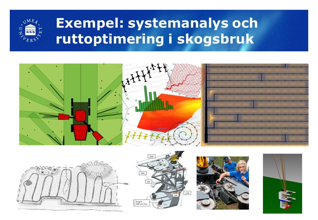 Exempel: systemanalys och ruttoptimering i skogsbruk