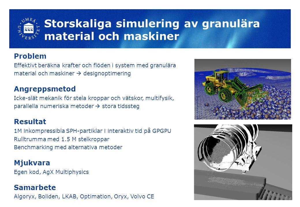 Storskaliga simulering av granulära material och maskiner Problem Effektivt beräkna krafter och flöden i system med granulära material och maskiner  designoptimering Angreppsmetod Icke-slät mekanik för stela kroppar och vätskor, multifysik, parallella numeriska metoder  stora tidssteg Resultat 1M inkompressibla SPH-partiklar i interaktiv tid på GPGPU Rulltrumma med 1.5 M stelkroppar Benchmarking med alternativa metoder Mjukvara Egen kod, AgX Multiphysics Samarbete Algoryx, Boliden, LKAB, Optimation, Oryx, Volvo CE