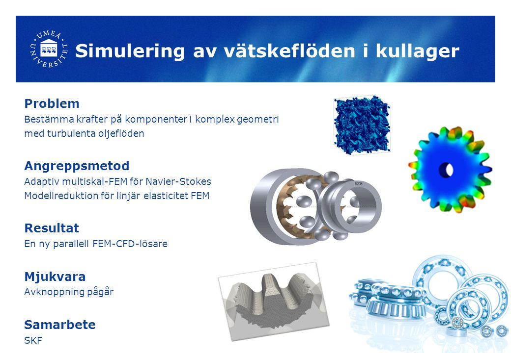 Simulering av vätskeflöden i kullager Problem Bestämma krafter på komponenter i komplex geometri med turbulenta oljeflöden Angreppsmetod Adaptiv multiskal-FEM för Navier-Stokes Modellreduktion för linjär elasticitet FEM Resultat En ny parallell FEM-CFD-lösare Mjukvara Avknoppning pågår Samarbete SKF