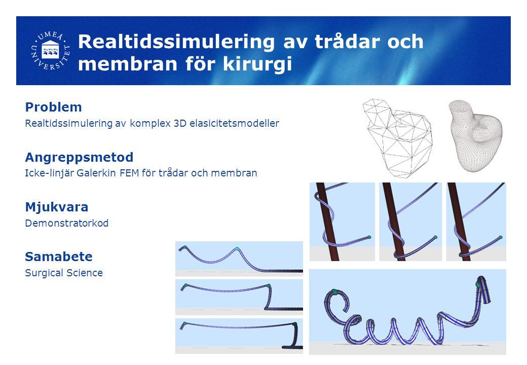 Realtidssimulering av trådar och membran för kirurgi Problem Realtidssimulering av komplex 3D elasicitetsmodeller Angreppsmetod Icke-linjär Galerkin FEM för trådar och membran Mjukvara Demonstratorkod Samabete Surgical Science
