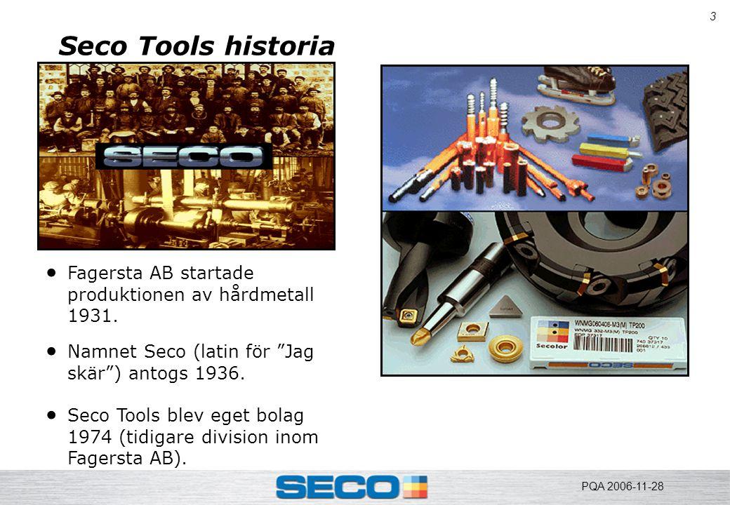 """3 Seco Tools historia  Fagersta AB startade produktionen av hårdmetall 1931.  Namnet Seco (latin för """"Jag skär"""") antogs 1936.  Seco Tools blev eget"""