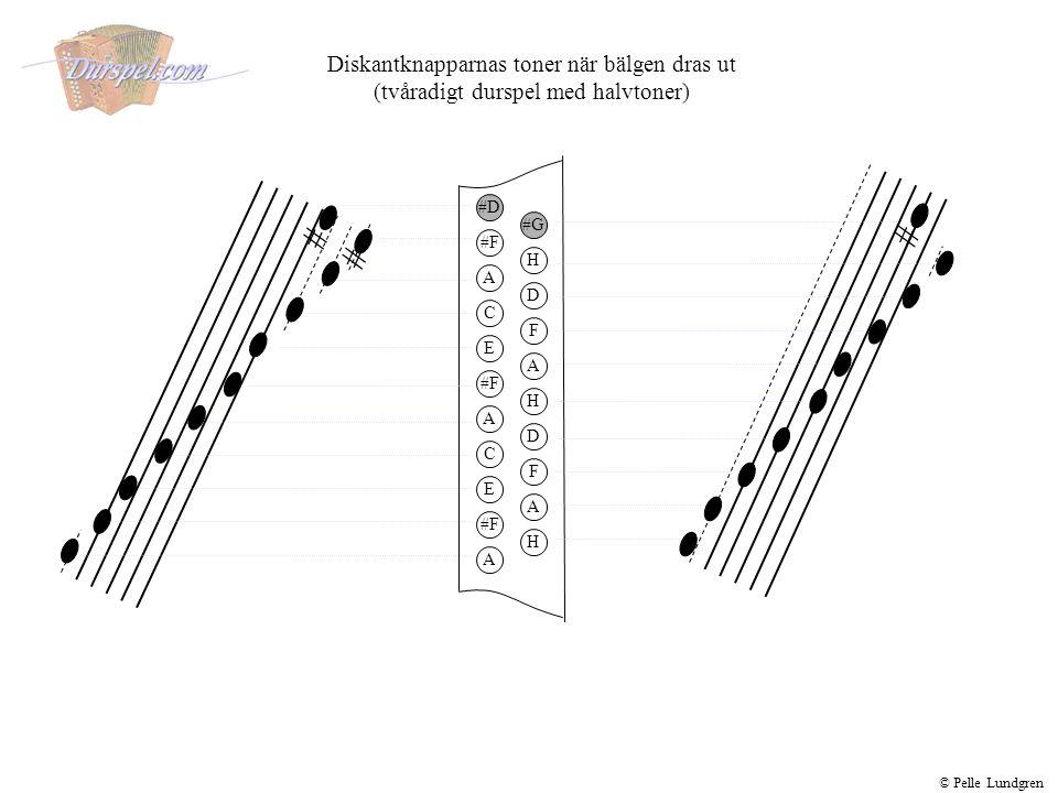 Basknapparnas toner när bälgen trycks ihop (tvåradigt durspel med halvtoner) © Pelle Lundgren E E F F G G C C Basknapparnas toner när bälgen dras ut (tvåradigt durspel med halvtoner) Am F F D D G G