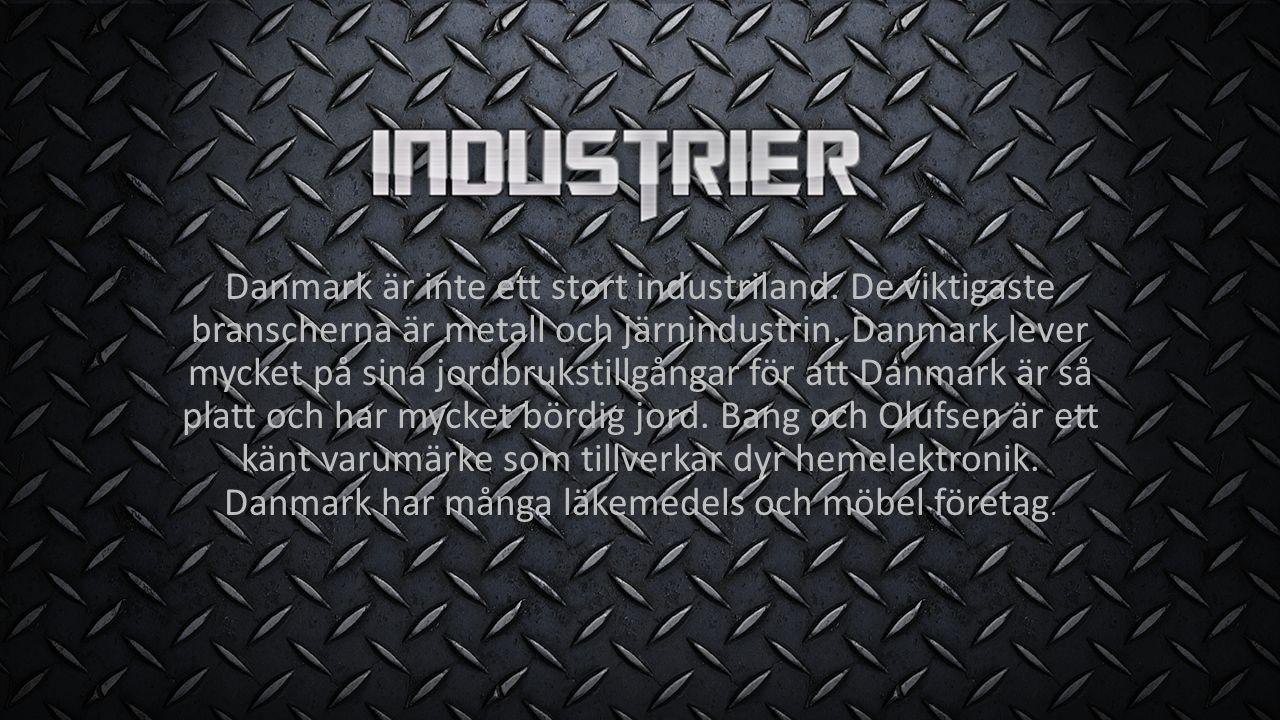 Danmark är inte ett stort industriland. De viktigaste branscherna är metall och järnindustrin. Danmark lever mycket på sina jordbrukstillgångar för at