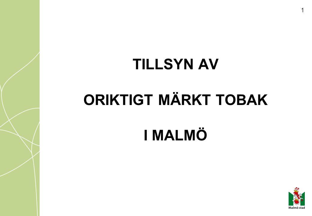 2 Antal försäljningsställen I Malmö finns i oktober 2014 ca 450 anmälda försäljningsställen av tobak.