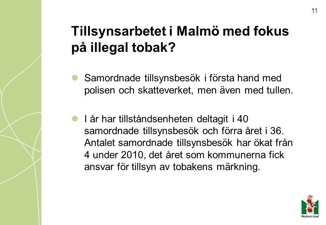 Tillsynsarbetet i Malmö med fokus på illegal tobak? Samordnade tillsynsbesök i första hand med polisen och skatteverket, men även med tullen. I år har