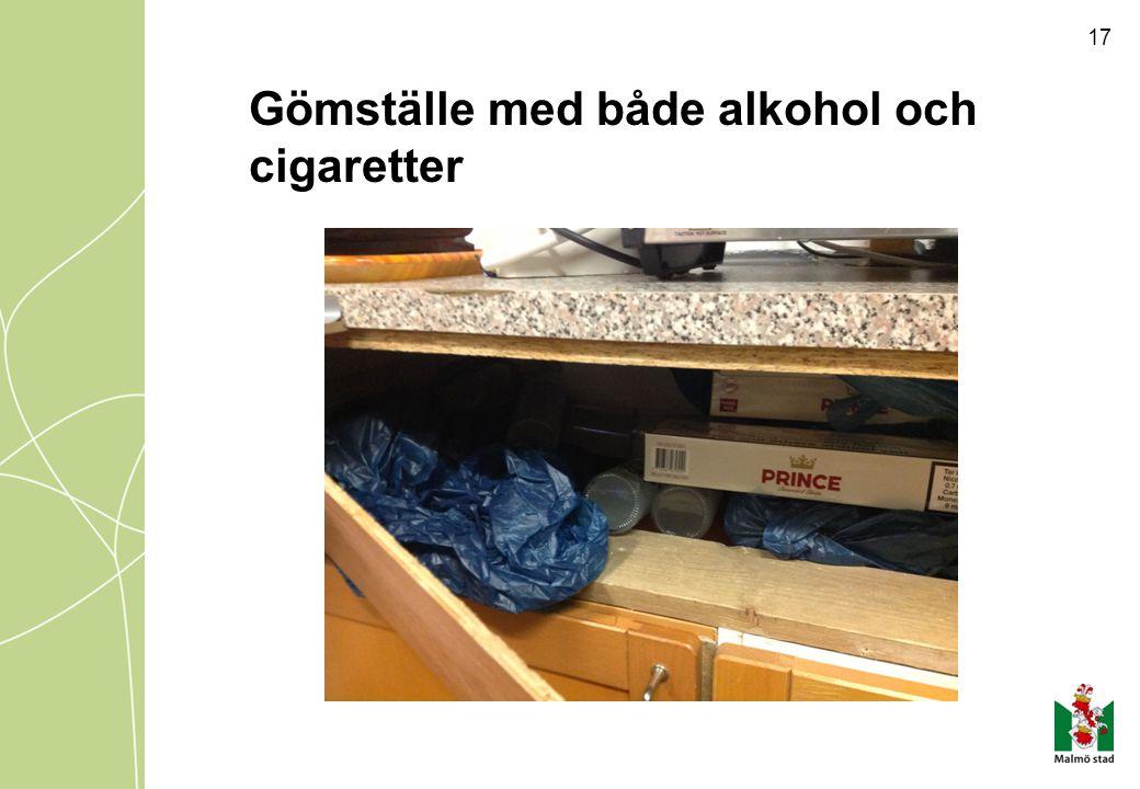 Gömställe med både alkohol och cigaretter 17