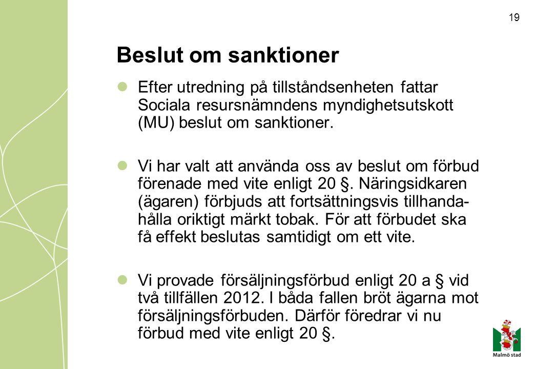 19 Beslut om sanktioner Efter utredning på tillståndsenheten fattar Sociala resursnämndens myndighetsutskott (MU) beslut om sanktioner. Vi har valt at
