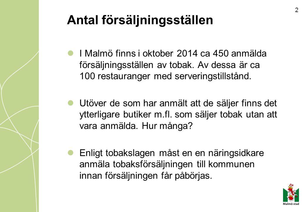 2 Antal försäljningsställen I Malmö finns i oktober 2014 ca 450 anmälda försäljningsställen av tobak. Av dessa är ca 100 restauranger med serveringsti
