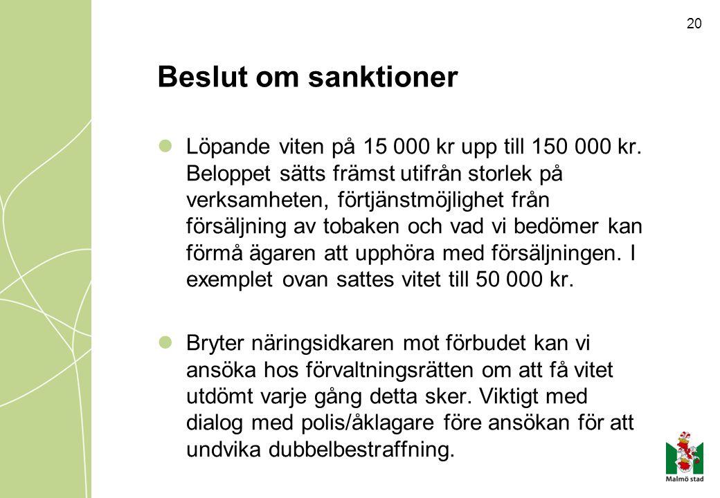Beslut om sanktioner Löpande viten på 15 000 kr upp till 150 000 kr. Beloppet sätts främst utifrån storlek på verksamheten, förtjänstmöjlighet från fö